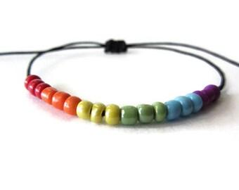 Gay pride bracelet Lgbt bracelet/anklet, Adjustable Bracelet, Macrame Bracelet, Beaded pride bracelet