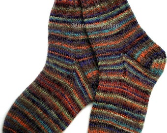 Hand Knit Rainbow Socks Warm Socks from Sock Yarn with Kid Mohair Multicolored Striped Mohair Socks Sleeping Socks Winter socks Wool Socks