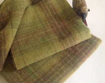Green Apple Plaid, Wool for Rug Hooking and Applique,  Select-a-Size, J831
