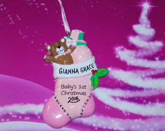 Personalized Baby's First Christmas Stocking Ornament (Girl)