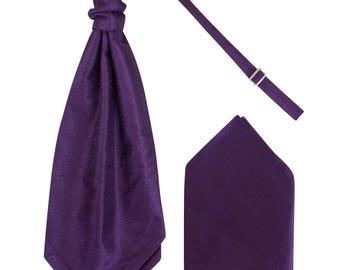 Boys Plum Purple Luxury Dupion Scrunchie Cravat with matching Pocket Square Pre-Tied