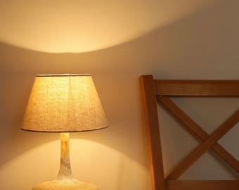 Handmade Ceramic Table Lamp With Linen lampshade - Bedside Lamp - lighting - Table Lamp