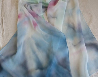 Cherry blossom silk scarf - hand painted silk scarf - Blue -Pink scarf, natural silk scarf, floral silk scarf, birthday gift, free shipping