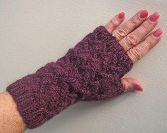 Burgundy, Damson or Grape Knitted Fingerless Texting Gloves, Wristwarmers or Mitts, made from Handspun Merino