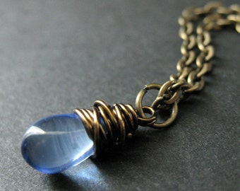 Teardrop Necklace. Sky Blue Teardrop Necklace in Bronze. Bridesmaid Necklace. Handmade Jewelry.