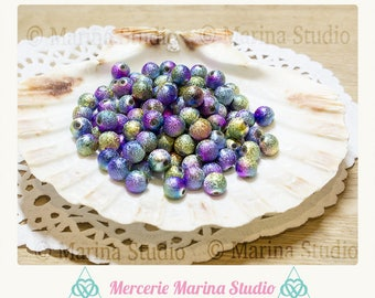 100 metallic stardust effect 8mm MS13836 Peacock color beads