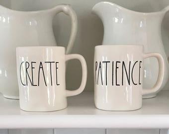 "RAE DUNN MUGS • ""Create"" & ""Patience"" • Set 2  Rae Dunn Clay Magenta Mugs  • New Unused Mugs!"