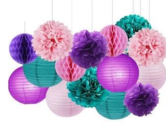 15pcs Mermaid Party Decoration Teal Pink Purple Tissue Paper Pom Poms Paper Lanterns Honeycomb Balls Wedding Baby Shower Decoration