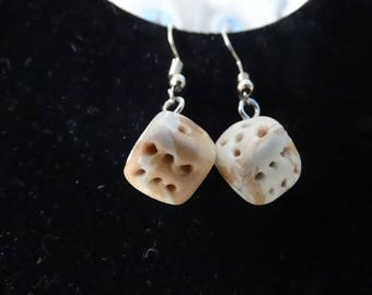 dangle earrings dice, light beige and cream
