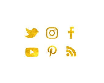 Digital Gold Foil Social Media Icons