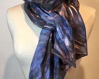 Indigo Dream, dusty navy blue, charcoal and bronze metallic hand painted silk scarf, indigo blue starburst oblong silk wrap