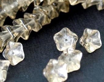 20pcs Small Morning Glory Smoky Glass Beads 9x6mm