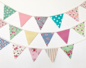 Petite Shabby Chic Fabric Bunting, Banner, Garlands (set of 3)