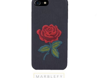 Embroidered roses iPhone case,  patched flower, stitched rose , iPhone 6, 7 , 7 Plus,8 ,8 Plus, iphone 6 case, floral phone case patch