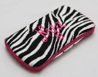 Personalized Wipes Case - Hot Pink Zebra