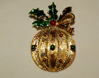 Gerry's Collectible Enameled Christmas Ornament Brooch Pin Brooch, Pendant, Tree Bulb Pin, Red & Green Balls, Red Ball, Lot #38