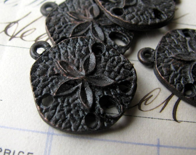 Sand dollar charm from Bad Girl Castings, 20mm, antiqued dark pewter (4 charms) water life, ocean sea, beach, nautical, boating CH-SC-036