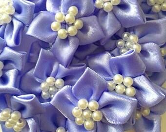 5 Lavender Satin Ribbon Poinsettia Flowers 4cm  - Card Making Embellishments Craft Sewing
