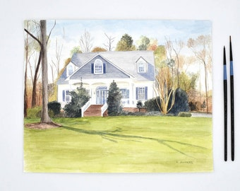 Watercolor Painting - Custom House Painting -  House Portrait - Painting of Home - Housewarming Gift  - Realtor Gifts  - Home Painting
