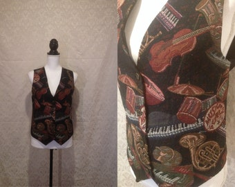 1990s Woven Carpet Tapestry Vest Novelty Print Instrument Music Band Button Up Adjustable Nerdy Costume Artsy S-L