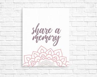 Manadala Share a Memory Sign Printable Modern Funeral Memory Sign Funeral Stationery Memorial Service
