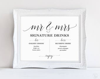 Signature Drinks Sign, Mr and Mrs Signature Drinks Sign, Printable Signature Drinks Menu, Wedding Reception Sign