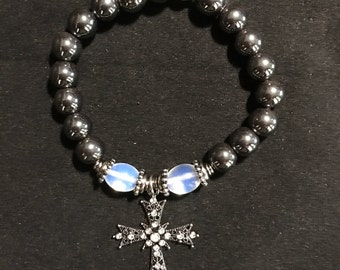 Magnetic Hematite and Opalite with Cross