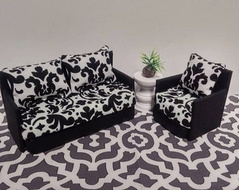 Doll Furniture for Mini American Girl Dolls - Living Room Sofa and  Accent Chair - Black & White Damask