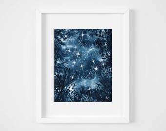starry sky forest watercolor illustration art print | galaxy sparkling nature lover art universe space artwork