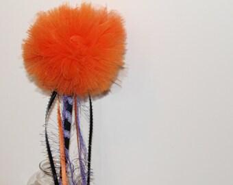 Halloween Wand, Pom Pom Wand, Tutu Wand, Orange Magic Wand, Purple Ribbon Wand, Halloween Costume Wand, Party Wand, Favor Wand