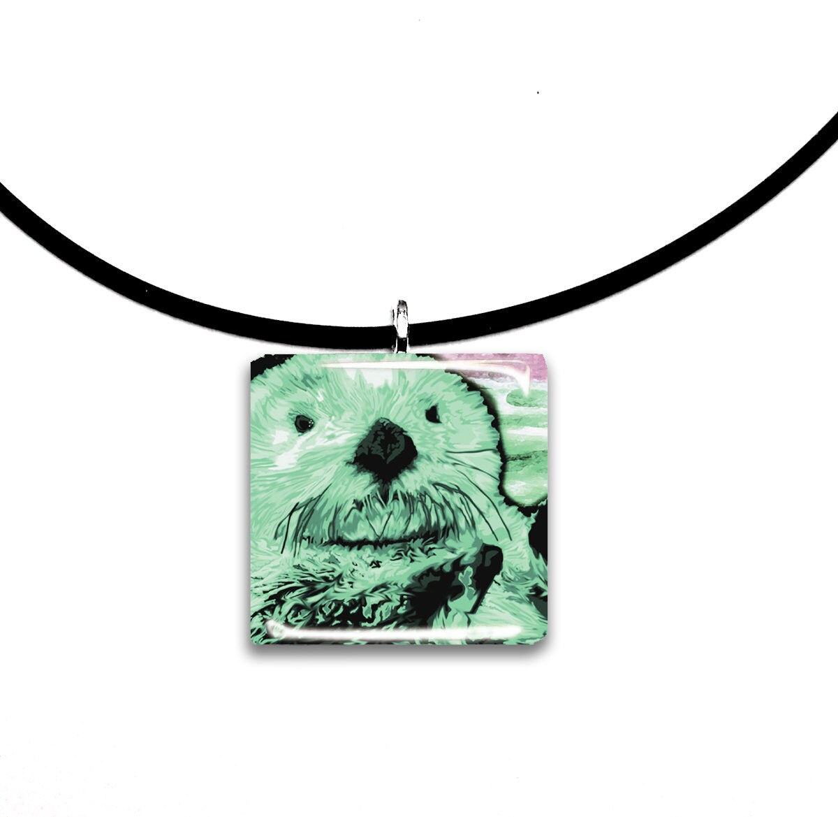 Mint green pastels sea otter pendant hand painted unique zoom aloadofball Image collections