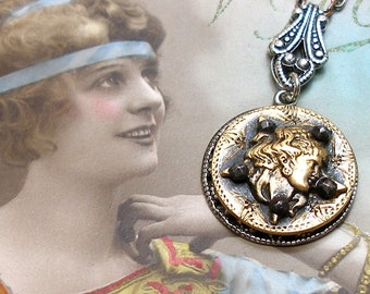 Star MAIDEN, 1800S BUTTON necklace. Victorian mythology, goddess on brass. Antique button jewellery.