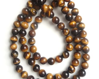 8mm Tiger eye round beads , full strand (15.5 inches)