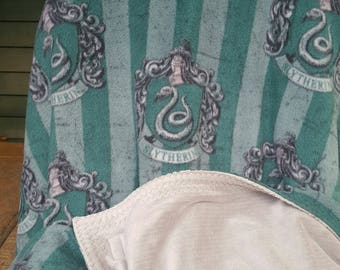 Harry Potter Slytherin Fleece Blanket Throw Slytherin crest Hogwarts green with gray minky minkee backing large warm soft special anti-pill