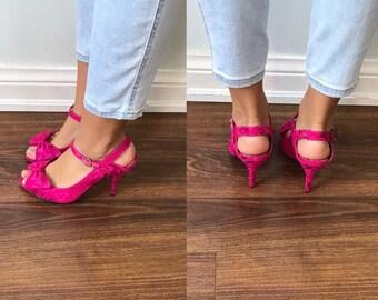 Vintage Pink Lace Heels, Vintage High Heel Shoes, Betsey Johnson, Pink Lace Shoes, 1990s Betsey Johnson Shoes, Vintage Shoes