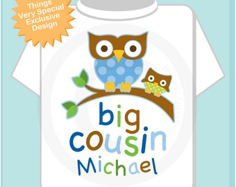 Big Cousin Shirt, Big Cousin Owl Tee Shirt or Big Cousin Onesie Pregnancy Announcement, Owl Big Cousin (05202013a)