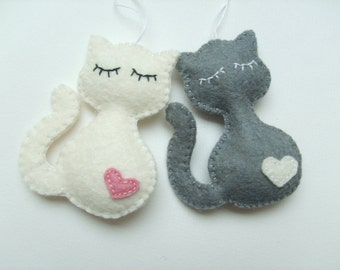 Cat ornament from felt for the pet pemperer - Christmas kitty home decor gift idea Baby shower wool cat-lovers
