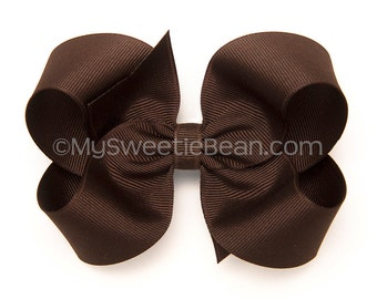 """Brown Hair Bow, 4 inch Boutique Bow, Chocolate Brown Bow, 4"""" Hair Bow for Toddlers, Girls, Babies, Grosgrain Hairbow for Girls, Warm Brown"""