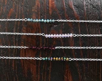 Beaded bar necklaces, beaded necklace, bead and silver chain necklace
