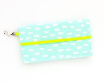 iPhone Cell Phone Wallet - Mint Blue and White Abstract Neon Print - Custom Cell Phone Case - Smart Phone Wallet