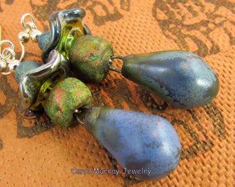 Petra bronze rustique en céramique, artisans de Murano et titane Quartz argent Sterling boucles d'oreilles (ER 312)