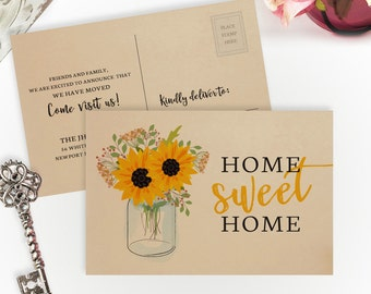 Rustic moving cards PRINTED on kraft paper | Gift for new home | 4X6 home sweet home cards | Change of address postcards