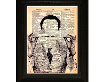 "Mustache''.Dictionary Art Print. Vintage Upcycled Antique Book Page. Fits 8""x10"" frame"