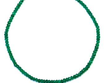 Green Onyx Necklace Faceted Solid Strand Beaded 14k Gold Filled or Sterling Silver 18 19 Inches AAA Cut Rich Emerald Green in Color