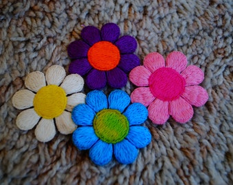 Vintage Flower Power Patches - Set of 4 - Colorful