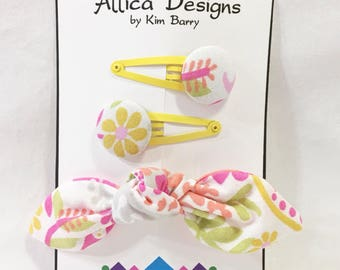 Fabric Hair Bow and Clip Set - Pink and Yellow Paislies and Flowers, Snap Clips, Covered Buttons Free Shipping in the US