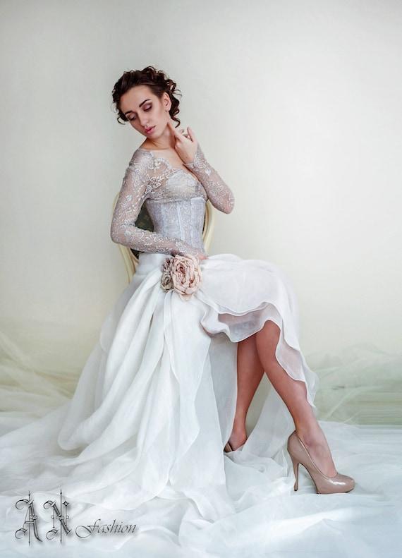 Silk wedding dress long sleeve wedding dressv neck bridal junglespirit Images