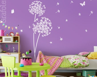 Wall stickers nursery flower and butterflies wall stickers wall stickers nursery flower dandelion wall decal vinyl decor w706a