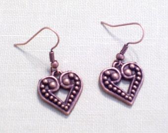 Antiqued Copper Heart Earrings, Beaded Hearts, Pierced Earrings