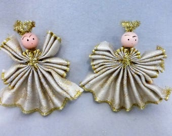 Vintage Handmade Christmas Angel Ornaments with Gold l  HO633